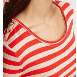 Ann Taylor Striped Scoop Neck Button Shoulder Tee